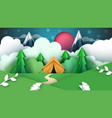 cartoon paper tent cloud mountain vector image vector image