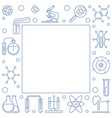 chemistry outline square frame chemical vector image