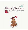christmas and new year cute puppy cartoon card vector image vector image