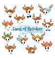 christmas decor reindeer faces clipart vector image