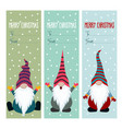 christmas labels collection with gnomes vector image
