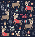 christmas seamless pattern with a cute deer vector image vector image
