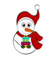 christmas snowman character holding a present vector image
