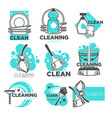 cleaning company isolated icons washing and vector image vector image