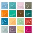 Collection of 16 Line Chart Icons Banner vector image
