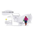 fat overweight woman using mobile application vector image vector image