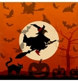 Halloween background with flying witch vector image vector image