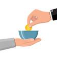 hand giving gold coin to beggar vector image