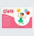 happy girl running with clolrful balloons cute vector image vector image