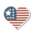 heart with usa flag icon vector image vector image