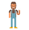 Hipster in denim overalls Flat on isolated white vector image
