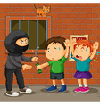 Kids being robbed on the street vector image vector image