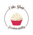 logo sweet cupcake shop template badge logo for vector image vector image
