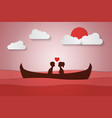 lovers sit on a boat in the middle of the sea and vector image