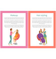 makeup and hair styling posters set text spa salon vector image
