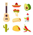 mexican cuisine cartoon vegetables food and vector image vector image