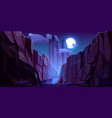mountain river in canyon at night vector image vector image