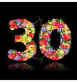 number thirty made from fruits vector image vector image