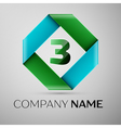 Number three logo symbol in the colorful rhombus vector image vector image
