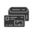 open envelope and credit card glyph icon driver vector image vector image