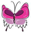 painting a cute butterfly in pink color color vector image