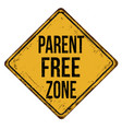 parent free zone vintage rusty metal sign vector image vector image