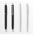 pen mockup realistic pens close up template vector image