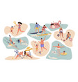 people beach activities cartoon characters on vector image vector image