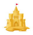 realistic 3d detailed sand castle with flag vector image vector image