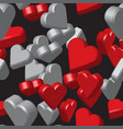 red grey hearts seamless pattern vector image