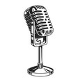 retro monochrome music microphone concept vector image vector image