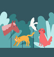 rod puppets resembling animals in forest vector image