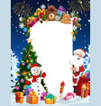 santa christmas gifts snowman and blank sign vector image