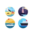Sea travel set icons vector image vector image