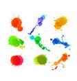 set of paint blots vector image