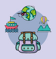 set vacation travel and adventure destination vector image vector image