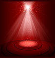 spotlight red color on empty stage vector image vector image