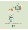 TV controls the person vector image vector image