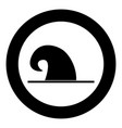 wizard hat icon black color in circle vector image