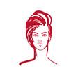 women short hair style icon logo women face on vector image vector image