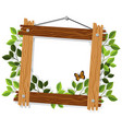 wooden frame with leaves and butterfly vector image vector image