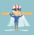 young caucasian sportswoman holding skis vector image vector image
